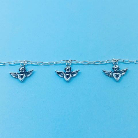 Genuine 925 Sterling Silver 7.5 Inch Cherubs Cupid Angels With Hearts Bracelet